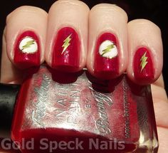 Gold Speck Nails: The Flash Nails Using KKcenterHk Water Decals