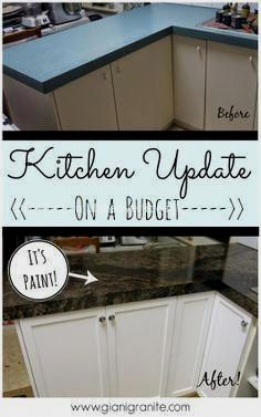 Kitchen update on a budget. Countertop paint that looks like granite! www.g … – diy kitchen decor on a budget Rental Kitchen, Kitchen On A Budget, Kitchen Decor, Kitchen Ideas, Kitchen Paint, Kitchen Tips, Decorating Kitchen, Decorating Ideas, Kitchen Facelift