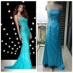 Discount Luxury Beading Blue Formal Evening Dresses Sweep Train Strapless Beaded Evening Gown Custom Made Prom Evening Dress Mermaid Dr For Evening Online with $219.9/Piece   DHgate