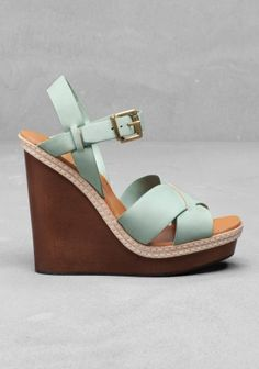 Wooden Wedge Sandals - Mint & OTHER STORIES