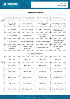 ESL Verb to be Game - Reading and Matching Activity - Elementary - 20 minutes In this engaging ''verb to be' game, students play snap by matching yes/no questions with the 'verb to be' to short answers. English Grammar Worksheets, English Verbs, English Sentences, English Book, English Lessons, English Vocabulary, Learn English, French Lessons, Spanish Lessons