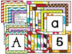 Boggle® Letters and numbers! 25 different frames in various chevron, polka dot, and zebra patterns (and a couple of flowers). Each pattern comes in 2 different fonts...one upper and one lower case. Frames are each 3 inches square. Use for book baskets, labeling groups/tables, in a spelling or making words center, in a math center, put magnets on the back and use on a magnetic chalkboard or white board, spell out headings on your bulletin board displays, use for Word Wall headings, etc.