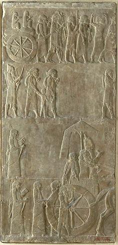 le roi Assurbanipal sur son char campagne D'Elam 650 BC