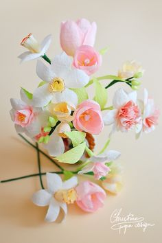 Paper flowers, paper daffodils, paper tulips, spring flowers.