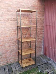Biblioteca estanteria de hierro y madera rustica muebles - Estanterias de hierro ...