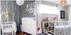 Grey and white baby rooms. Stokke bed