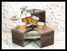 Cube Card featuring Whiskey Business, In Good Taste DSP and Stampin' Blends (Cinnamon Cider & Mango Melody. Masculine Birthday Cards, Birthday Cards For Men, Masculine Cards, 3d Cards, Pop Up Cards, Stampin Up Cards, Fancy Fold Cards, Folded Cards, Pop Cubes