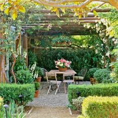 I will have a gravel patio someday. cottage garden with pergola of wood poles that supports climbing roses, wisteria over pea-gravel patio edged with boxwood Patio Edging, Pea Gravel Patio, Garden Edging, Garden Paths, Gravel Pathway, Small Courtyard Gardens, Small Courtyards, Outdoor Gardens, Backyard Pergola