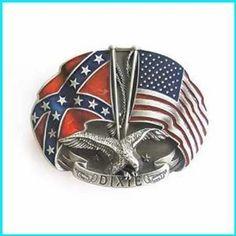 Amazon.com: Dixie US Flag Rebel Flag Southern Pride Double Eagle Belt Buckle WT-080: Everything Else