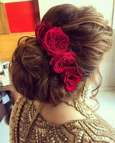 Staggering Unique Ideas: Low Bun Hairstyles women hairstyles long hair looks.Women Hairstyles Long Hair Looks messy hairstyles for prom. Wedding Hairstyles For Long Hair, Indian Hairstyles, Pixie Hairstyles, Hairstyles With Bangs, Braid Hairstyles, Trendy Hairstyles, Flower Hairstyles, Rose Hairstyle, Wedding Hairdos