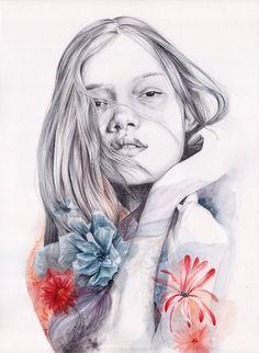 Ilustración de chica con flores en acuarela por naranjalidad, €15.00