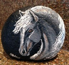 Gray Stallion Painted Rock via Etsy