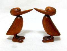 Very cute, very collectable Danish ducks - Danish Modernist Pair Wooden Ducks Hans Bolling Kay Bojesen Era Vintage 1950s
