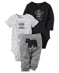 Featuring a cute little bear on the bottom and two coordinating bodysuits, this babysoft cotton set lets him mix and match with essential pants.