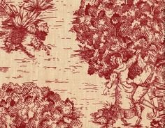 """A charming traditional toile print in crimson on a beige background. Includes two panels and two tiebacks.Each panel is 50"""" wide x 96"""" long. Total size is"""