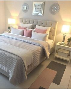 Schlafzimmer Ideen Teenager 41 awesome pink and gold girls bedroom decor makeover for a budget # Dream Rooms, Dream Bedroom, Cozy Bedroom, Bedroom Simple, Bedroom Yellow, Summer Bedroom, Bedroom Classic, Budget Bedroom, Bedroom Decor Grey Pink