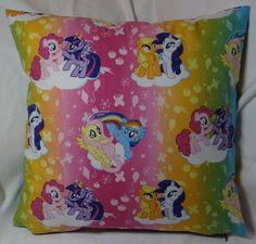 The fifth in the My Little Pony series. 14 inch pillow made of 100% cotton with a zipper on the bottom for easy washing.