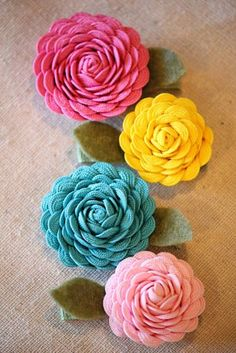 Rick Rack Flower hair clips