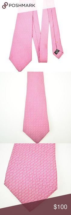 """Fendi Pink """"Ff"""" Logo Silk Club Tie FENDI - Pink, Monogram """"FF"""" Logo, 100% Silk, Club Tie. Handcrafted in Italy - Retail* $200  * * Authenticity 100% Guaranteed * *  Condition**: No Wear, Nice Color Saturation, no stains, no holes and no pulls. Authenticity Hologram/Tags attached.  Dimensions (approx.): Length - 58"""" x Width - 3 1/2"""" Fendi Accessories Ties"""