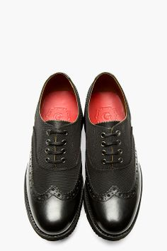 ffdd9753bcfb GRENSON Black Canvas   Leather Max Austerity Brogue Shoes Austerity