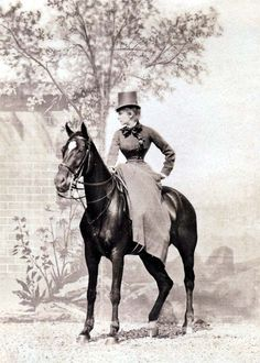 Sarah Bernhardt in riding habit...  I have no idea if she still had both legs in this picture.