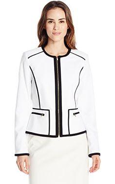Calvin Klein Women's Detail Jacket, White/Black, 4 ❤ Calvin Klein Women's Suits