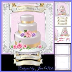 WEDDING CAKE MINI KIT WITH PINK & LILAC FLOWERS
