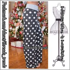 """Arrive Monday! Polka Dot Lounge Pants So cute love these grey polka dot yoga lounge pants. Wide band drawstring Waist, flared bottom hem. Made of a French terry cotton/poly spandex blend. Perfect weekend for the gym or lounging. Pair with a white top or add a pop of color.  Inseam 31"""", SIZE S, M, L Threads & Trends Pants Track Pants & Joggers"""