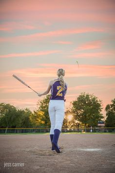 Senior Softball Photo Batting The Ball - Shows off their number (click to see more)