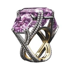 Alexandra Mornyc three-stone kunzite and diamond ring