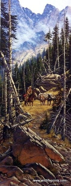 An old-time mountain man makes his way along the trail with his pack horses in the Derk Hansen western print DEEP IN THE ARAPAHO. You can almost feel the peaceful solace of being alone in this vast wi