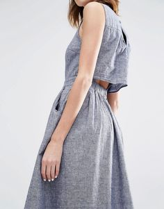 Image 3 ofWarehouse Open Back Linen Mix Midi Dress