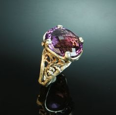 Amethyst and sterling silver ring Custom Jewelry Design, Sterling Silver Jewelry, Class Ring, Dan, Amethyst, Closet, Armoire, Amethysts, Closets