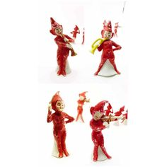 Christmas Elf Band German Porcelain Bisque 1920s Set of 4 Red Musician... (€185) ❤ liked on Polyvore featuring home, home decor, red home accessories and red home decor