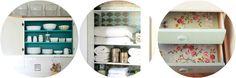 Goed idee voor onze buffet en vitrine kasten. Een licht behangetje aan de binnenkant.