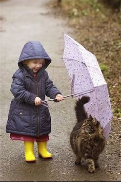 Walking in the rain with your kitty. Hoping my kitty and my granddaughter will be friends some day! So Cute Baby, Cute Kids, Cute Babies, Animals For Kids, Animals And Pets, Baby Animals, Funny Animals, Cute Animals, Animal Memes