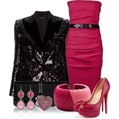 Pink and Black Dress Outfit! Love the Jewelry !!!