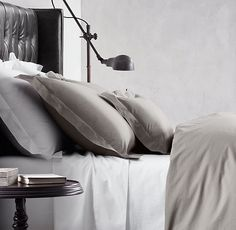 """Italian Vintage Bedding Collection - Restoration Hardware Carlo Bertelli, master atelier, calls this bedding """"Pisolo,"""" or """"little nap."""" The casual pure-cotton percale is fashioned after heirloom bedding that's been in Carlo's family for generations. Pottery Barn Teen Bedding, Hotel Collection Bedding, Bedding Master Bedroom, Dream Bedroom, Cheap Bed Sheets, Bed Linen Design, Buy Bed, Luxury Bedding Sets, Cool Beds"""