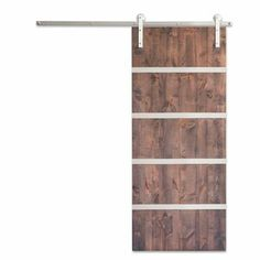 Artisan Hardware Modern barn doors are crafted out of engineered alder. Stainless steel straps are attached across both sides of the door. Modern and minimalistic with a strong style statement.