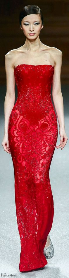 Tony Ward S/S 2015 - Tony was loving red on this sheath-style dress where the intricacy is in the pattern of the material.