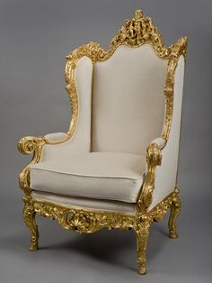 A Majestic Louis XV Style Carved Giltwood Bergère