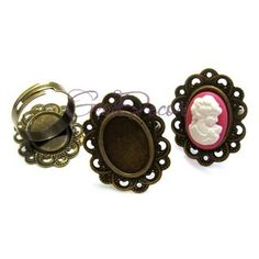BI87 - Baza inel bronz platou dantela 18x13mm Gemstone Rings, Magazine, Gemstones, Jewelry, Fashion, Moda, Jewlery, Gems, Jewerly
