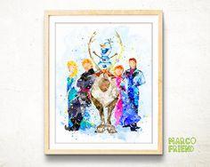 Disney Frozen watercolor art print poster – Disney Princess art - Frozen Elsa Anna Sven Kristoff Olaf print - wall art - Home Decor - mf374 by MarcoFriend on Etsy