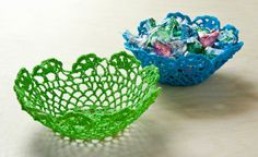How to make bowls from $1 Doilies