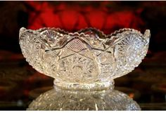 Vintage EAPG Pressed Glass IMPERIAL Centerpiece Console Bowl HOBSTAR | Ruffled Sawtooth Rim | Imperial Glass | Showstopper Compote by periodpiecesantiques on Etsy