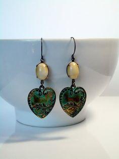 Bohemian Heart Verdigris Earrings Brass by lululovestocreate
