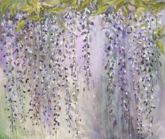 Abstract Painting Wisteria Flowers Acrylic Art //