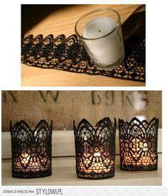 .Copos de vidro rendado com velas