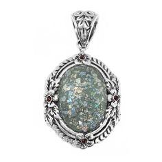Sterling Silver Pendant with 2,000 Year Old Antique Roman Glass... (255 ILS) ❤ liked on Polyvore featuring jewelry, pendants, antique sterling silver pendants, antique pendants, antique sterling silver jewelry, sterling silver charms pendants and glass pendants