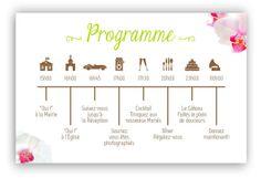 Les-Libellules - Programme Orchidée - Un magnifique programme très graphique pour annoncer à vos invités le déroulement du jour J. Couleur rose, vert et brun, avec images d'orchidées, fleurs.